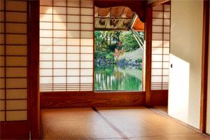 Raumteiler Materialien Traditionel Japanisch mit offenem Fenster