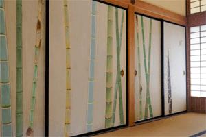 Japanischer Raumteiler mit Bambus-Motiv